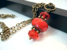 Red Antique Brass Necklace Red Czech Glass Picasso by snowingstars, $19.00