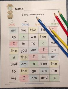 """Instant Literacy center! """"I Spy"""" Game - Sight word identification for the whole year, $2"""