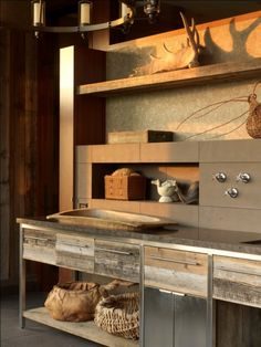 stainless with the barn look cabinets - love it!