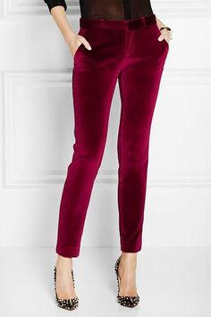Pants For Women - Jewel Tone Clothing Bold Fashion, Holiday Fashion, Autumn Winter Fashion, Womens Fashion, Holiday Style, Style Fashion, Velvet Pants, Mode Style, Passion For Fashion