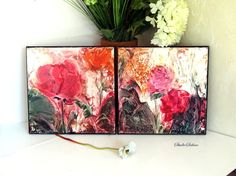 Semi Abstract Diptych Home Decor Rose Painting by StudioSabine, $180.00