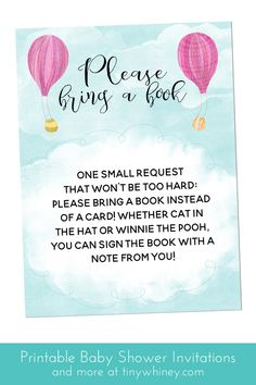 Hot air balloon baby shower invitations | bring a book card | travel theme baby shower