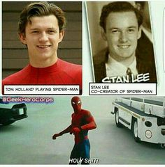 No argument here -- there is definitely a resemblance between Stan Lee and Tom Holland. No argument here -- there is definitely a resemblance between Stan Lee and Tom Holland. Films Marvel, Funny Marvel Memes, Marvel Jokes, Dc Memes, Avengers Memes, Marvel Dc Comics, Marvel Heroes, Marvel Avengers, Funny Memes