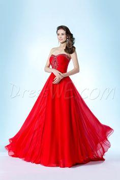 Dresswe.comサプライ品ファンシーストラップレスビーズスイートハートネックラインAラインスイープ/ブラシイブニング/ウェディングドレス イブニングドレス2014