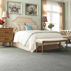 When you want to up the cozy factor in the space where you're bare-foot most often, opt for plush-cut pile in extra-soft nylon. Shown: Truly Tender II, in Wavecrest, about $4.59 per sq. ft.; Mohawk. | Photo: Courtesy of Mohawk | thisoldhouse.com
