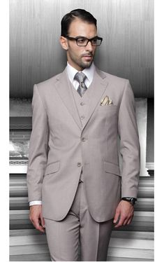 Find the best deal on 2 button beige three piece suit for men with no pleated pants at our online store MensUSA.