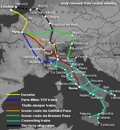 How to travel by train from London to Italy (Venice Florence Rome & other cities). Train Route, Train Travel, Train Info, European Vacation, Italy Vacation, European Travel, Italy Travel, Italy Trip, Road Trips