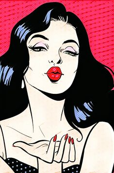 Pop art Drawing Poster Illustration, European and American pop style girl, woman in red lipstick illustration PNG clipart Pop Art Drawing, Art Drawings, Drawing Ideas, Comic Kunst, Comic Art, Sketch Manga, Blowing Kisses, Pop Art Girl, Comics Girls