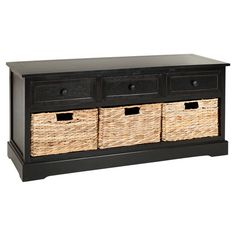 $187.95   Great sitting area coffee table.  Crafted of pine wood and featuring a distressed black finish, this handsome storage bench showcases 3 drawers and 3 wicker baskets.