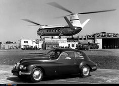 A Bristol 401 coupe (built one of the world's most aerodynamic yet elegant production cars, seen alongside a Bristol Belvedere twin-engine tandem helicopter. The latter, based on the Type 173 series, was first flown in [jamezorlando] Blackburn Buccaneer, Classic Aston Martin, Bristol Cars, United Kingdom Image, Grand Luxe, Star Wars Origami, Dubai Skyscraper, American Classic Cars, Autos
