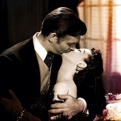 Rhett Butler & Scarlett O'Hara (Clark Gable & Vivien Leigh) - Go With The Wind - 1939 Vivien Leigh, Clark Gable, Go To Movies, Old Movies, Great Movies, Kiss Him Not Me, The Kiss, Rhett Butler, Scarlett O'hara