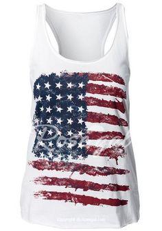Casual Scoop Neck Sleeveless American Flag Print Women's Tank Top Vests & Tank Tops   RoseGal.com Mobile
