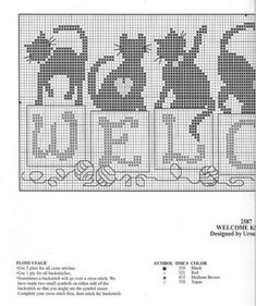 ideas for crochet cat stitch link Cat Cross Stitches, Cross Stitch Charts, Cross Stitch Designs, Cross Stitching, Cross Stitch Embroidery, Cross Stitch Patterns, Embroidery Patterns, Hand Embroidery, Crochet Cross