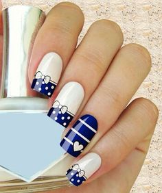 One of the fun things about being a girl is doing nails! Nail art designs for girls are plenty from stripes to polka dots, from Hello Kitty nail designs to Cartoons and Barbie Nails and they all definitely look fabulous. Blue And White Nails, Blue Nails, White Bows, White Ribbon, Black White, Great Nails, Cute Nail Art, Bow Nail Art, Nail Polish Designs
