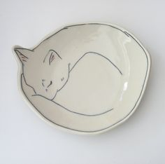 Dessert Plate, Sleeping Kitty, Kitten, Cat, porcelain plate