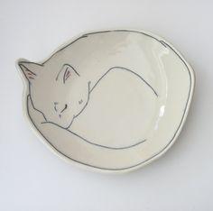 Dessert Plate Sleeping Kitty Kitten Cat von EarlyBirdDesignsShop