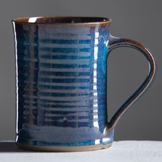 Ceramic Mug Winter Blue Glaze Cup  by MichaelMinkoffPotter on Etsy, $25.00