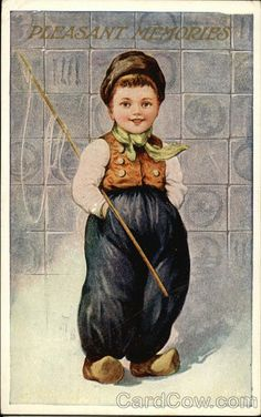 Divided Back Postcard Young Dutch Boy Dutch Children