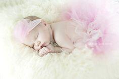 Infant girl in pink tutu