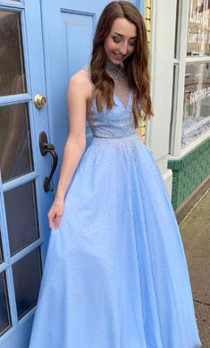 7331a8d2d94 Luxurious A-line Blue Long Party Dress from wendyhouse. Pearl DressProm  Dresses For ...