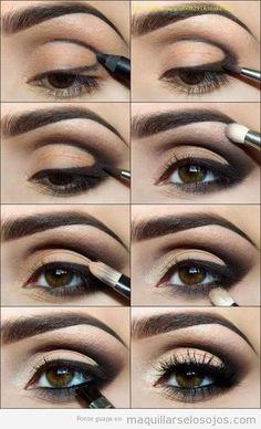 Tutorial maquillarse los ojos paso a paso con sombra negra difuminada y sexy