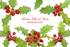 Watercolor Christmas Holly Berry