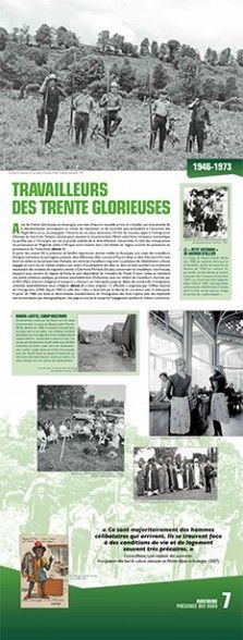 N° 7 : Travailleurs des Trente Glorieuses (1946-1973) - Avec les Trente Glorieuses, en Auvergne, une main-d'œuvre nouvelle arrive et s'installe. Les événements de la décolonisation provoquent un climat de répression et de contrôle sans précédent à l'encontre des Maghrébins qui va accompagner l'histoire de ces deux décennies. Il faut reconstruire et trouver des travailleurs pour relancer l'économie... © Groupe de recherche Achac