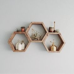 FREE SHIPPING Honeycomb Shelf. Geometric shelf. Modern shelf. | Etsy Hipster Home Decor, Home Diy, Geometric Shelves, Modern Wall Decor, Honeycomb Shelves, Home Decor, Rack Design, Modern Shelving, Hipster Home