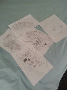 A days worth of drawings. It was a good day!