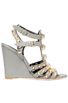 Balenciaga Grey / Silver Wedge with Gold Studs Resort 2014 Gold Fashion, Fashion Shoes, Wedge Shoes, Shoes Heels, Pumps, Silver Wedges, Beautiful Sandals, Shoes 2014, Girls Shoes