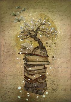 Reading, the key to knowledge (illustration Marine Loup) Book Tattoo, Tattoo Tree, Tattoo Quotes, Geniale Tattoos, Keys Art, New Tattoos, Tatoos, Rosary Tattoos, Bracelet Tattoos