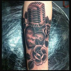 Microphone, Heart, and Roses Tattoo By Lauren
