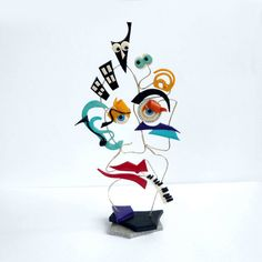 Colorful polymer clay and wire sculpture OOAK
