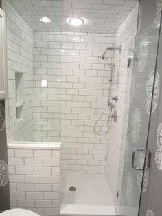 Prodigious Master shower remodel tricks,Corner shower remodeling benches tips and Camper shower remodel ideas. Half Wall Shower, Tile Walk In Shower, Subway Tile Showers, Master Shower, Shower Doors, Master Bathroom, Bathroom Showers, Navy Bathroom, Walk In Shower Designs