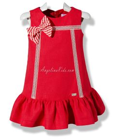 Vestido lino rojo African Dresses For Kids, Toddler Girl Dresses, Little Girl Dresses, Girls Dresses, Baby Dress Design, Baby Girl Dress Patterns, Toddler Fashion, Kids Fashion, Kids Gown