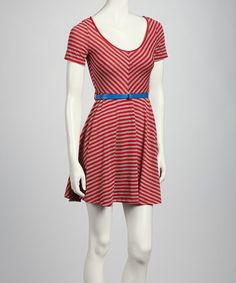 Take a look at this Red & Gray Chevron Stripe Belted Dress by Bella D on #zulily today!