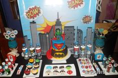 Fantastic dessert table at a superhero birthday party! See more party ideas at CatchMyParty.com!
