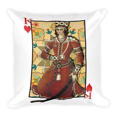 King of Hearts Persian Throw Pillow