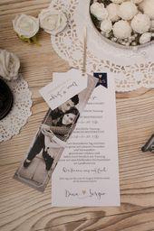 Simple invitation to the wedding with a large photo strip- Schlichte Einladung zur Hochzeit mit großem Fotostreifen Modern wedding invitation deck of cards Dina and Sergio – carino cards - Rustic Invitations, Modern Wedding Invitations, Invitation Cards, Diy Wedding Programs, Wedding Cards, Tree Wedding, Diy Pinterest, Deck Of Cards, Card Deck