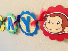 Curious George Birthday Party Banner por sweetheartpartyshop