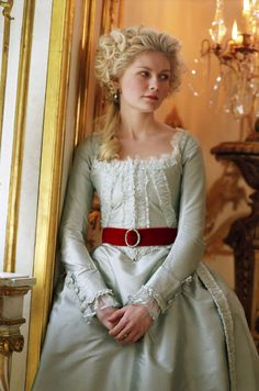 Marie-Antoinette Blue Dress with Red Belt.
