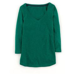 Boden Lightweight V Neck ¾ Sleeve ($14) ❤ liked on Polyvore featuring tops, green, boden, blue top, vneck tops, boden top and v-neck tops