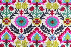 "Santa Maria – Desert Flower is a bold Arts and Crafts, Contemporary floral print. It has a ton of colors in it, which makes it a great Chameleon Style ""Key Fabric™"" choice for starting any design project."