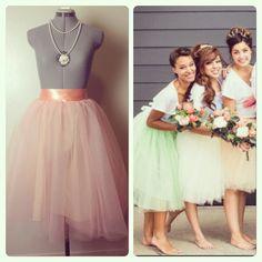 Peach Tulle Midi Skirt Bridesmaids Tutu by darkponydesigns on Etsy