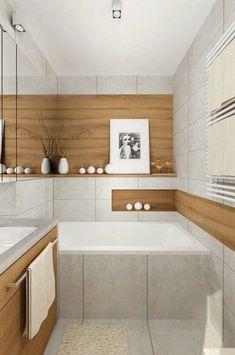 Bathroom wood tile and white tile combo. ❤ it Bathroom wood tile and white tile combo. Small Bathroom Tiles, Wood Bathroom, Bathroom Inspo, White Bathroom, Bathroom Furniture, Modern Bathroom, Best Bath, White Tiles, Bathroom Interior Design