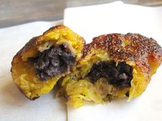 Vegan Rellenitos (plantain patties stuffed with black beans)