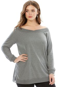 c587efbc22d2c Fashion Bug Women s Plus Size Off-The-Shoulder Baby French Terry Tunic -  Medium