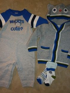 6 9 12 Gymboree WHO'S CUTE Adorable Owl LOT 4 Romper Sweater Baby Boy New NWT