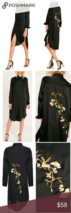 NEW! Dalia Side Slit Shirt Dress BLACK So chic!   Gorgeous Embroidery Design  High Quality  Button Up Roll Up Sleeves Sexy Side Slits Polyester Elastane Blend   ▪ Price is Firm  ▪ No Trades  ▪ Fast Shipping Moda Ragazza Tops