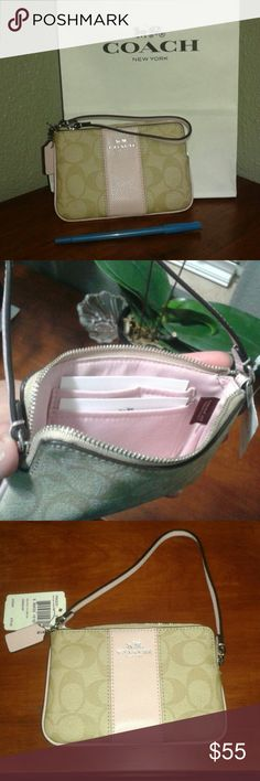 """Coach single zip wristlet Coach single zip wristlet. Super cute!! Tan with light pink leather outside and light pink soft fabric inside. There are two card slots on one side. The size is 4.5""""H x 6.25"""" W x 1"""" D Coach Bags Clutches & Wristlets"""